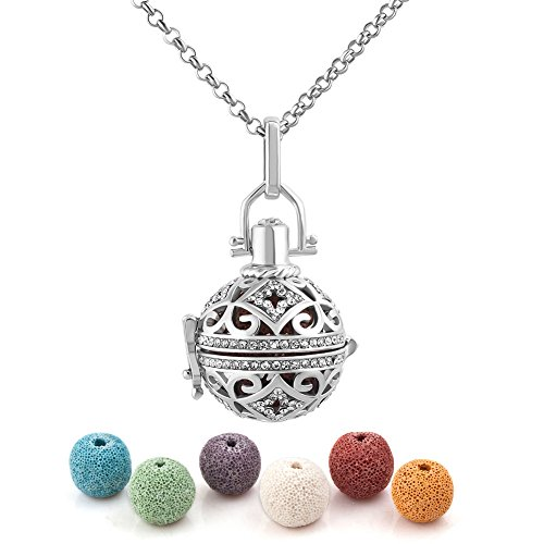Cherris Jewellery Lava Stone Aromatherapy Essential Oil Diffuser Necklace Antique Locket Pendant with 32' Snake Chain and 6 Cashmere Sustained Release Ball (silver color)