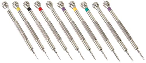 Professional Screwdriver Kit by W&S for Watches, Glasses and Accessories: (10pc Tool Set) - to Adjust, Remove, Replace and Repair - Stainless Steel Professional - 10 Piece
