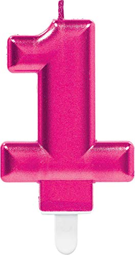 Amscan 9901712 Pink Party Kuchenkerze Kerze schimmernd Zahl 1
