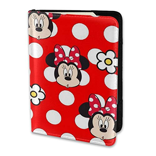 Funda para pasaporte, diseño de cabeza de Mickey con flor de piel, cartera de viaje para mujeres y hombres