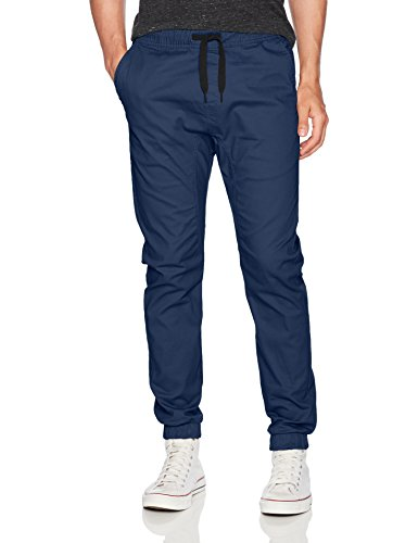 WT02 Men's Jogger Pants in Basic Solid Colors and Stretch Twill Fabric, Navy(New), Medium