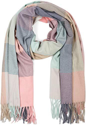 styleBREAKER Unisex weicher Karo Schal mit langen Fransen, kariert, Winter, Stola 01017110, Farbe:Türkis-Grau-Rosa
