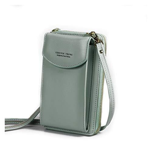 Youpin Bolsos de mano de PU de lujo para mujer 2020 Bolsos de mano para mujer Bolsos de mujer Crossbody Bolso de embrague para teléfono cartera bolsa de hombro (color verde claro)