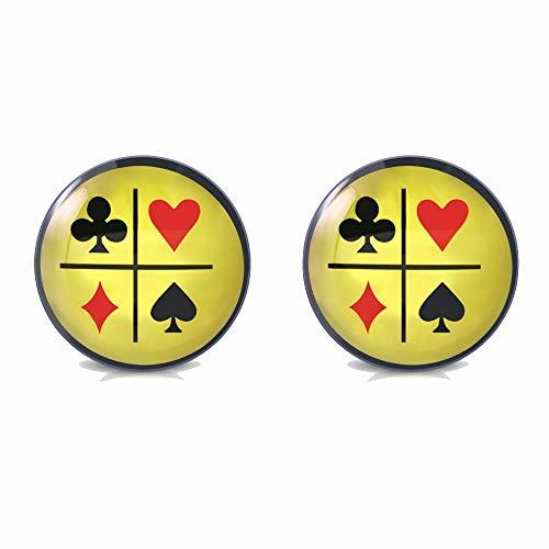 Tata Gisèle - Pendientes de Poker con pulgas de acero inoxidable, 10 mm