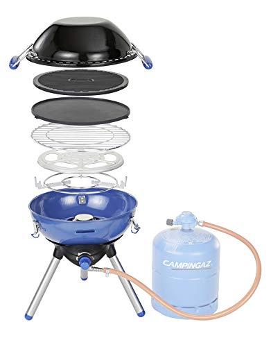Campingaz Party Grill 400 Fornello da Campeggio, Barbecue a Gas Tutto in Uno, Con Griglia e Fornello, Barbecue da Tavolo, Per Grigliate all Aperto