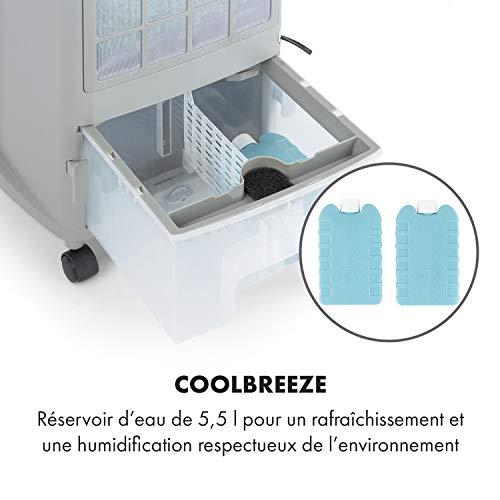 KLARSTEIN Whirlwind - Rafraîchisseur d'air, Ventilateur, Humidificateur, 3 Niveaux de Puissance, 3 Modes de Ventilation, Lamelles rotatives à 360°, Timer, Télécommande - Blanc