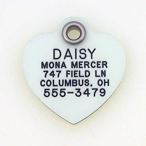 LuckyPet Pet ID Tag - Glow in The Dark Tags - Custom Engraved Dog Tags & cat Tags - Easy to Read & Durable - Medium Heart