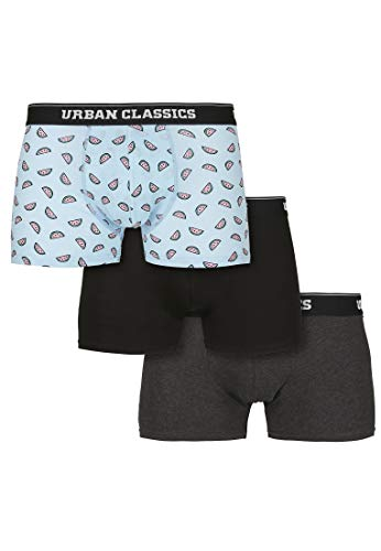 Urban Classics Herren Boxer Shorts 3-Pack Boxershorts, Melon AOP+cha+blk, M