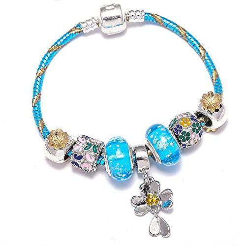 CHWEI Knitted Hat Pulseras para Mujer Pulseras Y Brazaletes con Dijes De Cuentas De Cristal con Cadena De Serpiente Azul Pulseras Chapadas En Plata para Mujer Joyería DIY A 20Cm