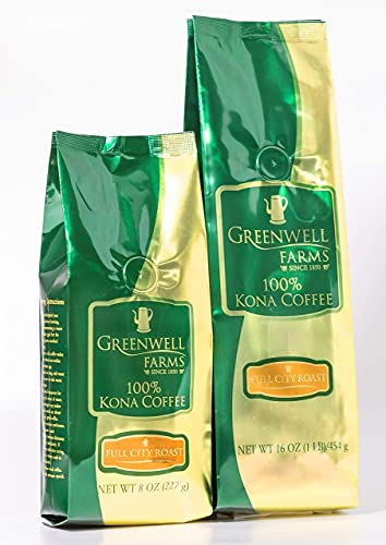 Greenwell Farms 100% Kona Coffee, Full City Roast, Whole Bean Coffee, 8oz - Silky bodied, sweet aroma with notes of fruit, roasted nuts, and caramel
