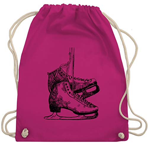 Shirtracer Wintersport - Schlittschuhfahren - Unisize - Fuchsia - schlittschuh rucksack - WM110 - Turnbeutel und Stoffbeutel aus Baumwolle