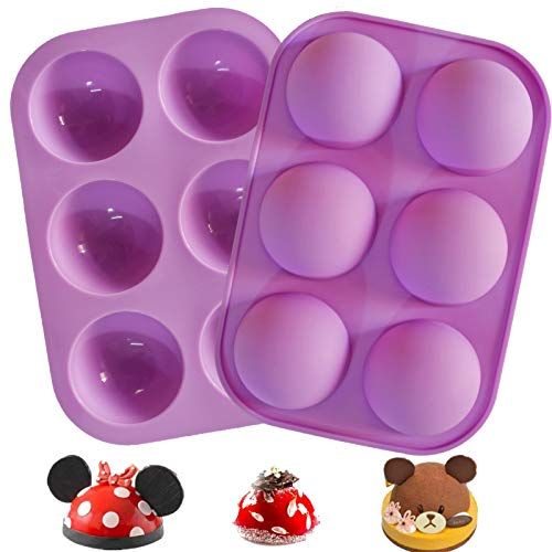 """Chocolate Bomb Mold, Silicone Hot Cocoa Bombs Molds, 2 Packs Circle Baking Mold for Making Dessert Candy, Dome Cake, 2"""" Semi Sphere Round (2 Purple)"""