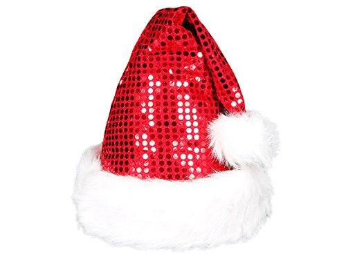 Costume Accessoire de Chapeau de père Noël à Paillettes Rouge avec Pompon - Doux câlin pour Adulte (wm49)