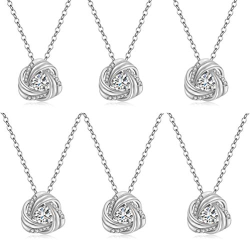 DHQH Bridesmaids Necklace Gifts Cubic Zirconia Knot Pendant Bridesmaid Necklace for Women I Couldn't Tie a Knot Without You Wedding Proposal Necklaces Jewelry(Rose Gold/Silver)