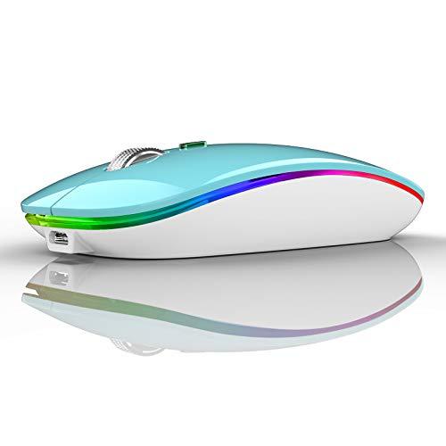 Coener M12 Ratón Inalámbrico Bluetooth, 2,4 GHz con Receptor Silencioso Dual Models Portátil Mouse con 3 Niveles de Adjustables 800-1200-1600 dpi para Escritorio/Windows/Linux/Vista/PC/Mac(Azul)