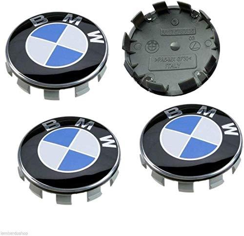 Sinbow 4X Tappi Coprimozzo con Logo da 68mm Cerchi Lega Coprimozzi per BMW
