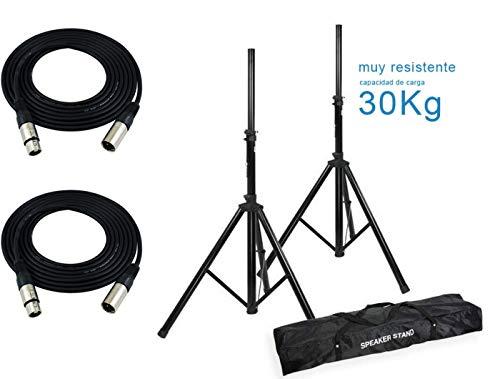 Audibax Soportes Altavoz Profesional con Bolsa (2 Unidades) + 2 Cables XLR...