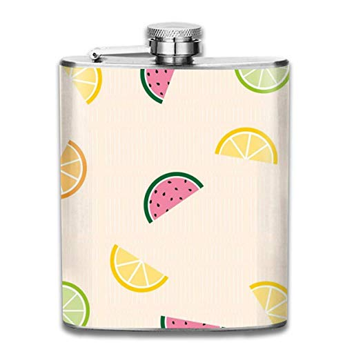 Flachmann,Edelstahl-Flachmann Watermelon Lemon Outdoor Portable 304 Stainless Steel Leak-Proof Alcohol Whiskey Liquor Wine 7OZ Pot Hip Flask Travel Camping Flagon for Man Woman Flask Great Little Gif