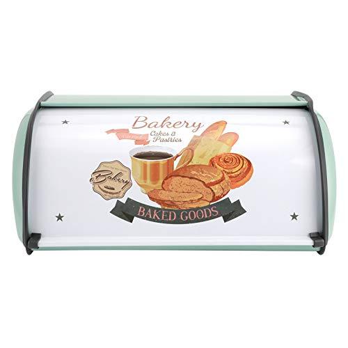 Caja de almacenamiento de metal para cocina, caja de repostería para pan, muebles para el hogar retro de gran capacidad(azul)