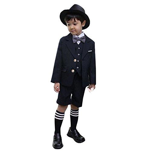 Cuteshower 子供スーツ 男の子 ベビー フォーマルスーツ 結婚式 七五三 入園式 入学式 6点セット 130cm