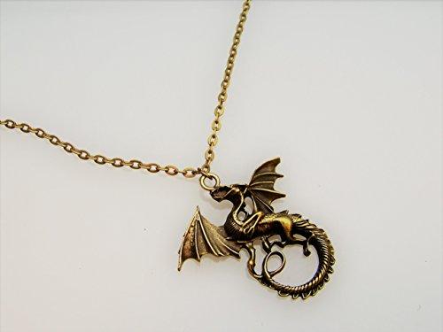 Kette mit Anhänger Drachen , Farbe: Bronze