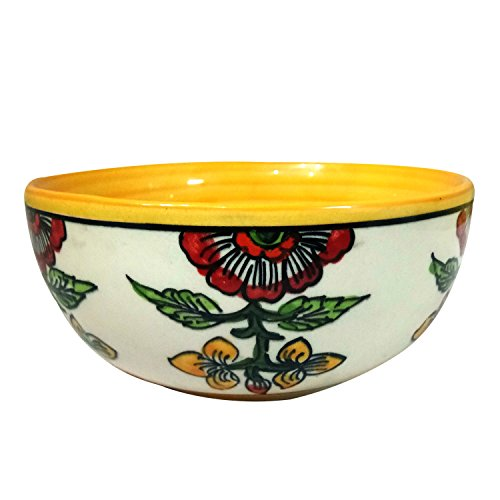 India Meets India Thanksgiving Handicraft Ceramic Serving Bowl Mixing Bowls Fruit Bowl Salad Bowl Snack Bowl, 400 ML, Best Gifting, Made by Awarded Indian Artisan