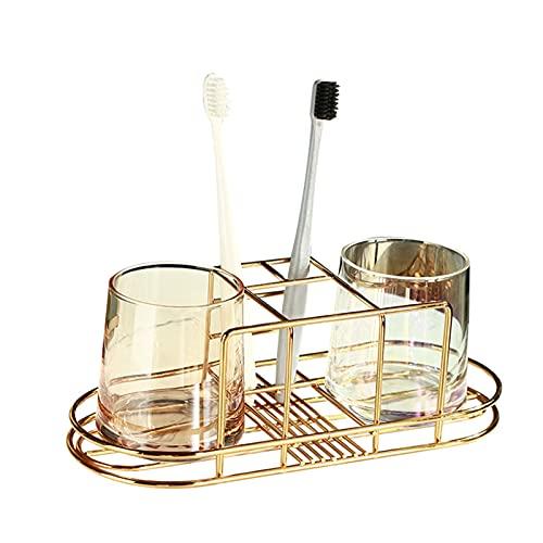 Soporte para cepillos de dientes de acero inoxidable con 5 receptores, estante vertical para baño para pasta de dientes, cepillo de dientes, afeitadora, limpiador facial, etc.