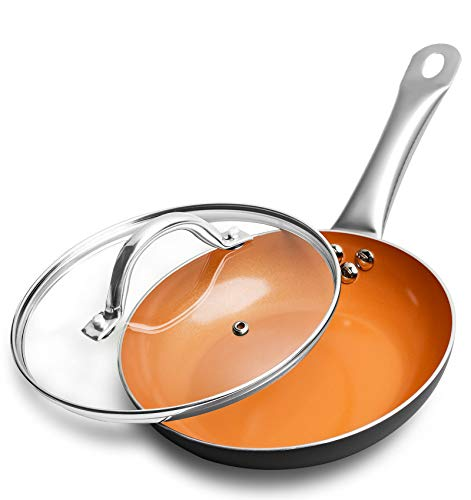 Michelangelo Nonstick Frying Pan with Lid 8 Inch - Copper Ceramic Pan Small Fry Pan Egg Pan Omelette Oven Safe Skillet