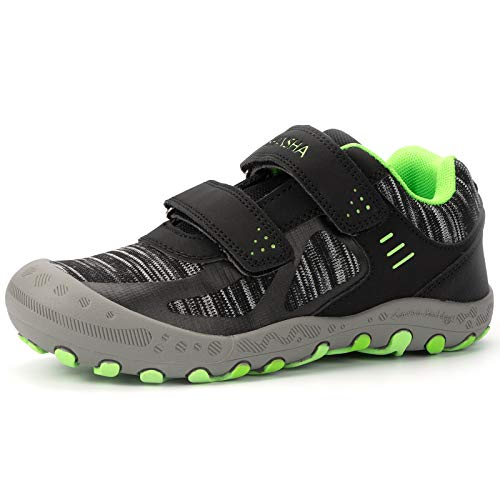 Mishansha Zapatos de Deportivo para Niños Niñas Transpirable Zapatillas de Senderismo Antideslizante Zapatos de Running Casual Outdoor, Negro, 32 EU