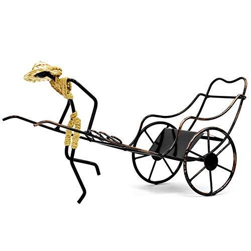 Estanterías de vino dkee Regalo Creativo Rickshaw Wine Rack Retro Hierro Forjado Wine Rack Decoración Del Hogar 38 × 13.5 × 20 CM
