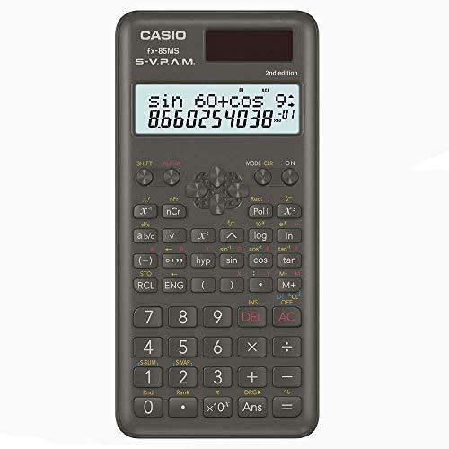 Casio FX-85MS-2 wissenschaftlicher Taschenrechner/Schulrechner zweizeilig mit 240 Funktionen, Solar/Batteriebetrieb
