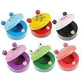 Toyvian 6Pcs Holz Finger Kastagnetten Reizende Nette Tier Muster Castanet Musical Instruments...
