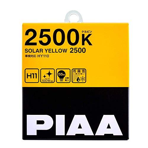 PIAA 22-13411 Solar Yellow H11 Light Bulb (2500K - 12V 55W), 2 Pack