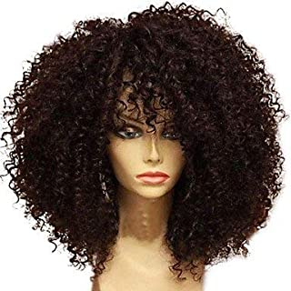 Women's Human Hair Lace Wig Brazilian Human Hair Glueless Lace Front 130% Density with Baby Hair Jerry Curl Afro Kinky Curly Wig Black