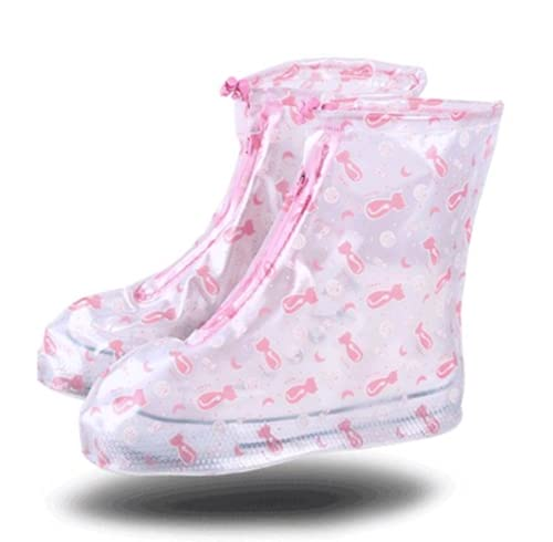 TYPING Sneaker Overshoes Resbalón de protección de Lluvia Impermeable/Resistente al Agua Lavable para niños Material PVC Cubierta Anti-Nieve,Rosado,XL
