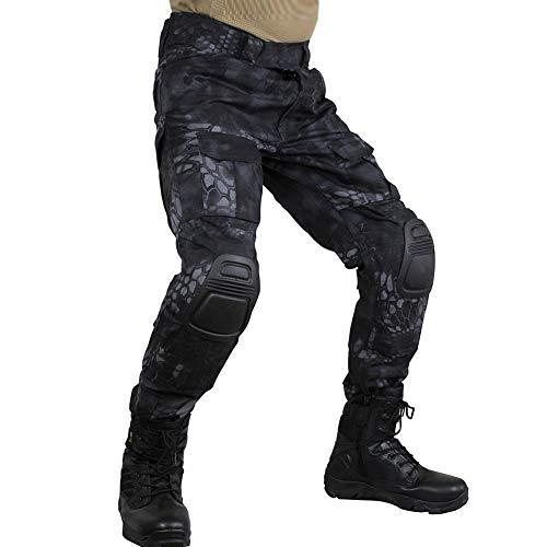 zuoxiangru Pantalones tácticos multicámara para Hombres Multi-Bolsillos Camuflaje Militar Pantalones de Caza de Combate Airsoft al Aire Libre con Rodilleras (Hm, Tag 42)