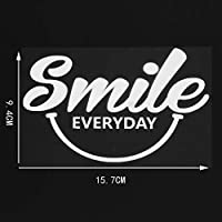 カーステッカー 15.7×9.4cm笑顔毎日のビニール車のステッカーデカール漫画装飾アートクリエイティブブラック/シルバー カーステッカー (Color Name : Silver)