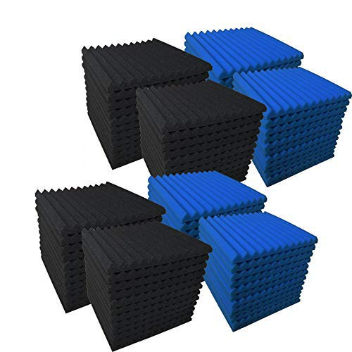 96 Pack BLUE/BLACK Acoustic Foam Panel Wedge Studio Soundproofing Wall Tiles 12 X 12 X 1