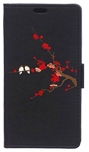 BeCool Funda Libro para Xiaomi Mi6 Plus- Carcasa con función Soporte, Ranuras para tarjetes y Billetes, Diseño Pájaros en Cerezo en Flor