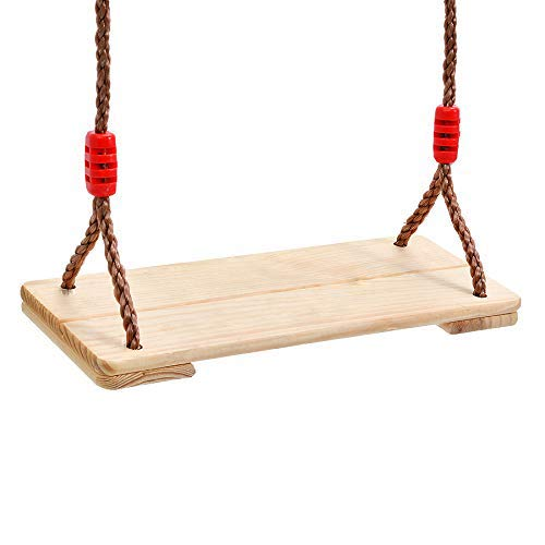 Indoor Outdoor Kids and Adult Wood Tree Swing Seat Chair 17.7 x 7.7' Length 83'' Adjustable Rope (M)