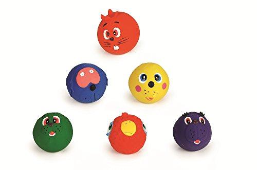 Beeztees Hundespielzeug: 6 x Ball mit Gesicht aus Latex Ø 7cm #0620560
