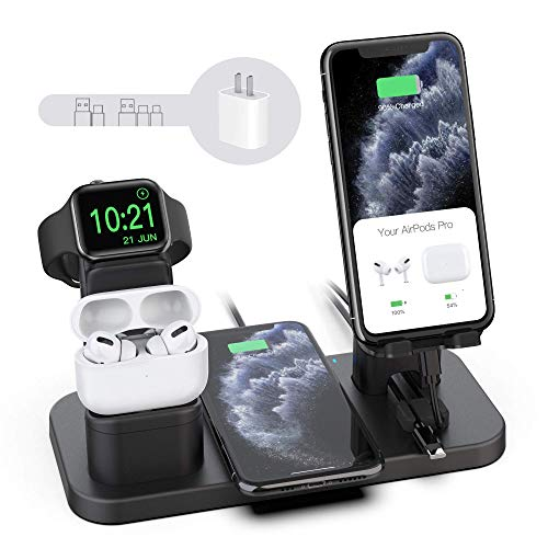 Wireless Charger Stand, CEREECOO 4 in 1 Wireless Charging Station Dock Compatible with iPhone 11/11pro/Xr/Xs/X/Max/8/8Plus/7/6/6s/5 Apple Watch6/5/4/3 AirPods/Airpods Pro (iWatch Charger Required)