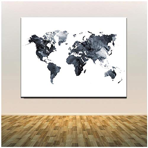 QYH Watercolor World Map Canvas Painting HD Digital Printing Colorful Map Picture Wall Poster Decoration for Bedrooom Canvas Paints 70x100cm