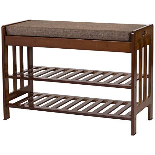 Ollieroo Natural Bamboo Shoe Rack Entryway Shoe Storage Household Shelf Shoe Bench with Cushion, Size 28.1' x 11.8' x 19.7' (Amber)
