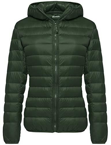 Wantdo Women's Down Jacket Light Winter Warm Coat Packable X-Large Dark Green