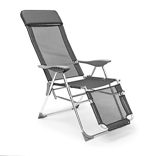 Relaxdays Sedia a Sdraio per Giardino/Esterni con 3 Posizioni Regolabili, Nero, 136x60x111 cm