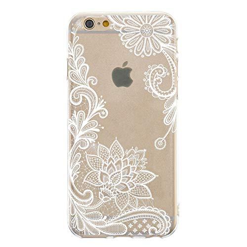 CrazyLemon Hülle für iPhone 8, Hülle für iPhone 7, Silikon Dünn Case 3D Kreativ Geprägt Lack Printed Muster Transparent Leicht Cover Ultra Slim TPU Schlank Bumper Handyhülle - Weißer Spitze