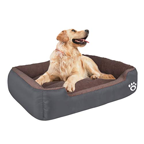 HEGCOIIE Dog Bed for Medium Large Dogs, Washable Pet Bed Sofa Soft Coral Fleece Warm Dog Basket Cats Bed Thickened Enough with Waterproof Oxford Cloth