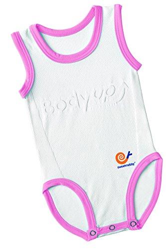 Mebby Body pour Bébé Évolutif Léger sans Manche - Rose et Blanc - 0 à 3 ans