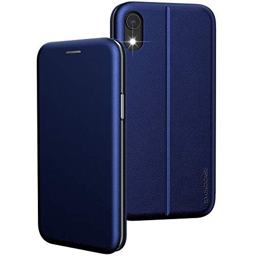BYONDCASE iPhone XR Handytasche, iPhone XR Hülle Blau [iPhone XR Flip-Hülle Klapphülle] Fullbody 360 Grad R&umschutz Ultra Slim kompatibel mit dem iPhone XR Handytasche